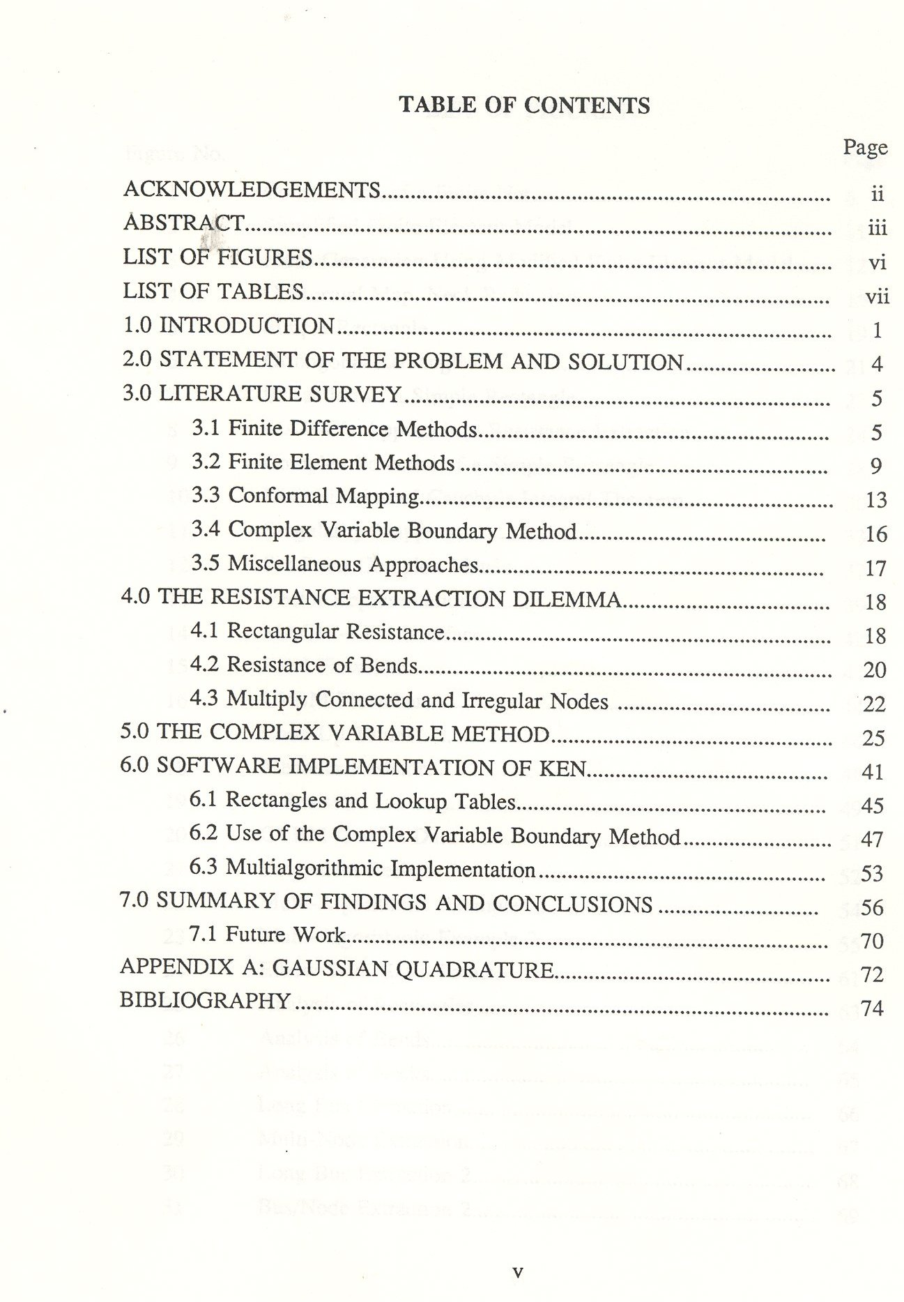 Order of contents for dissertation